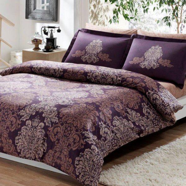 купить Постельное белье TAC сатин Delux Pavona V07 Фиолетовый фото
