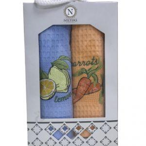 купить Набор кухонных полотенец Nilteks Lemon Carrots V01 (2 шт)