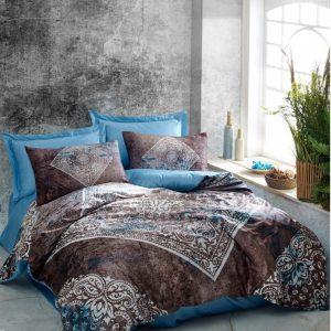 купить Постельное белье Cotton Box Dijital Saten Lanza Mavi Коричневый|Голубой фото