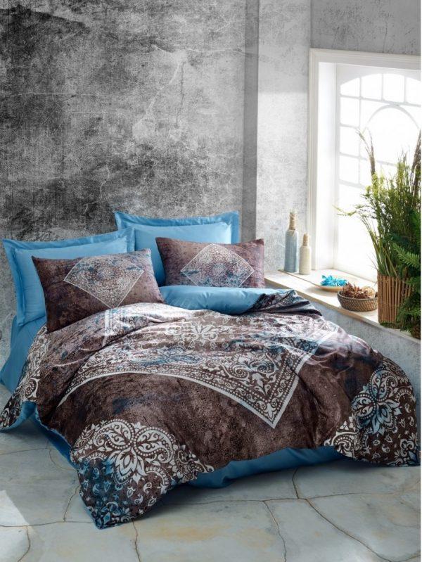 купить Постельное белье Cotton Box Dijital Saten Lanza Mavi Коричневый Голубой фото