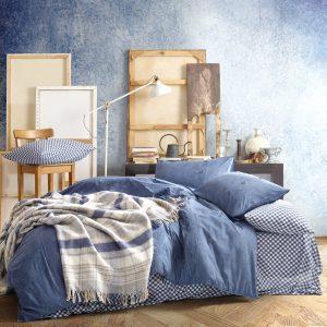 купить Постельное белье с пледом Cotton Box Denim Lacivert Синий фото