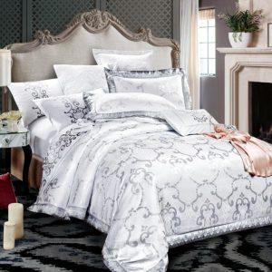 купить Постельное белье Bella Villa Сатин-Жаккард J-0058 Белый|Серый фото