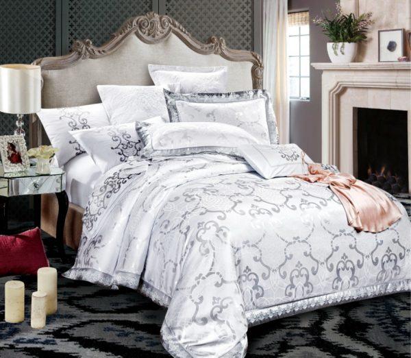 купить Постельное белье Bella Villa Сатин-Жаккард J-0058 Белый Серый фото