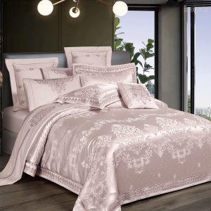 купить Постельное белье Bella Villa Сатин-Жаккард J-0060 Розовый|Кремовый фото