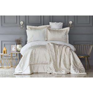 купить Постельное белье с одеялом Karaca Home - Silvio gold (10 предметов) Кремовый фото