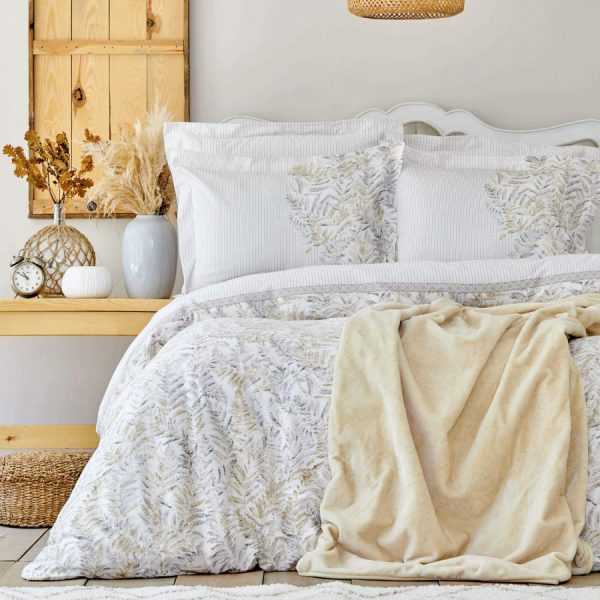 купить Постельное белье с пледом Karaca Home - Bled gri Бежевый фото