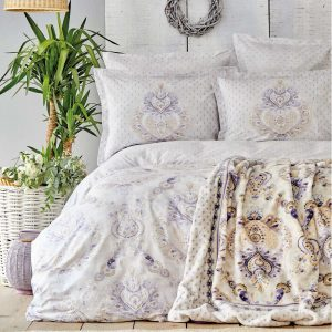 купить Постельное белье с пледом Karaca Home - Estella lila Фиолетовый фото