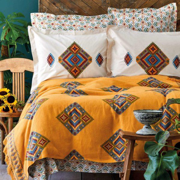 купить Постельное белье с покрывалом Karaca Home - Mentha hardal Оранжевый фото