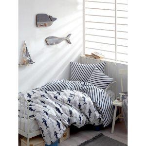 купить Постельное белье Enlora Home - Shark laci-beyaz Синий фото