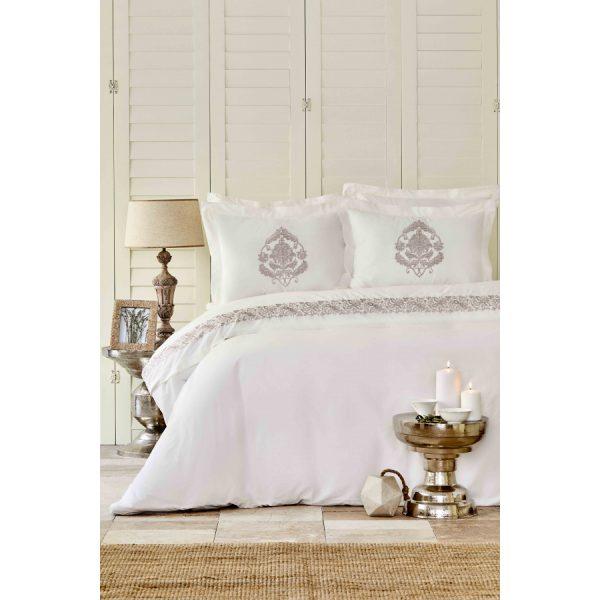купить Постельное белье Karaca Home - Arianna blush с вышивкой Кремовый фото