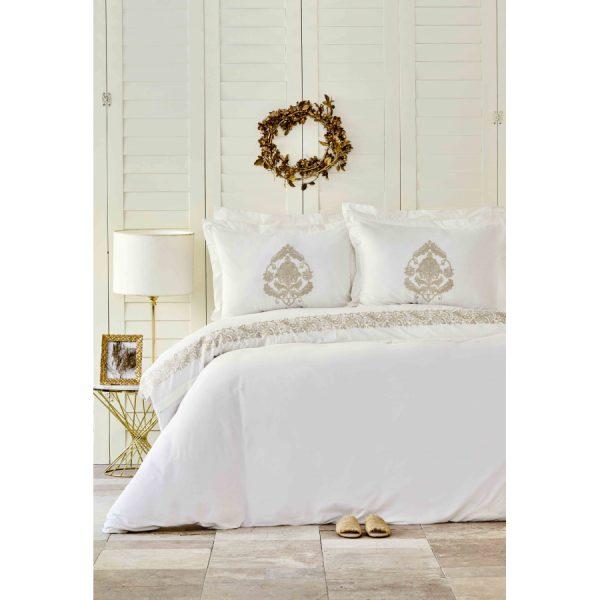 купить Постельное белье Karaca Home - Arianna gold с вышивкой Кремовый фото