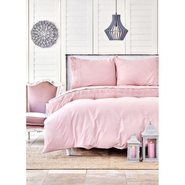 купить Постельное белье Karaca Home - Beatriz pudra с кружевом Розовый фото