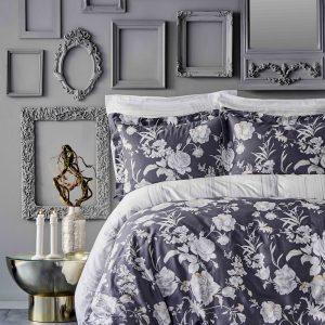 купить Постельное белье Karaca Home сатин - Elvira antrasit 2019-1 king size Серый фото