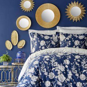 купить Постельное белье Karaca Home сатин - Elvira lacivert 2019-1 king size Синий фото