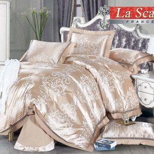 купить Постельное белье La Scala шелковый жаккард JP-37 Золотой|Бежевый фото
