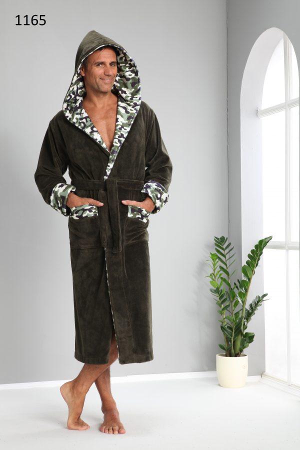 купить Мужской халат Nusa длинный с капюшоном 1165 Хаки