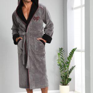 купить Мужской халат Nusa длинный с капюшоном 1170 Серый
