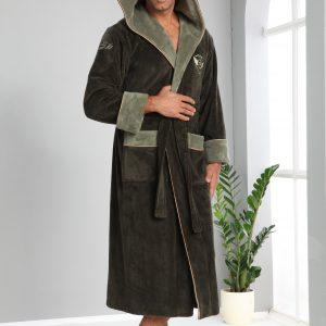 купить Мужской халат Nusa длинный с капюшоном 1175 Хаки