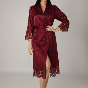 купить Женский халат Nusa длинный без капюшона 15060 Bordo