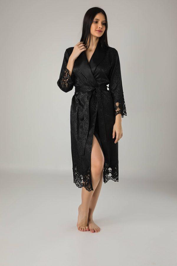 купить Женский халат Nusa длинный без капюшона 15060 Siyah