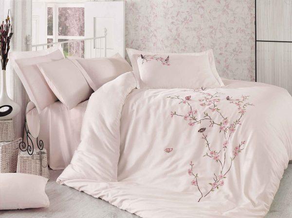 купить Постельное белье Cатин Делюкс с Вышивкой Dantela Vita BUTTERFLY Pudra Розовый фото