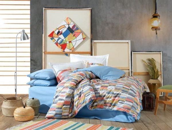 купить Постельное белье HOBBY Poplin Mikado Голубой фото