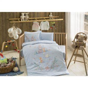 купить Постельное белье TAC Organik Happy Bunny mavi младенцам Голубой фото