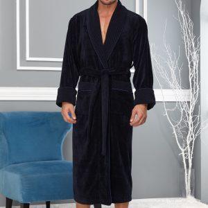 купить Мужской халат Nusa длинный без капюшона 2965 Синий