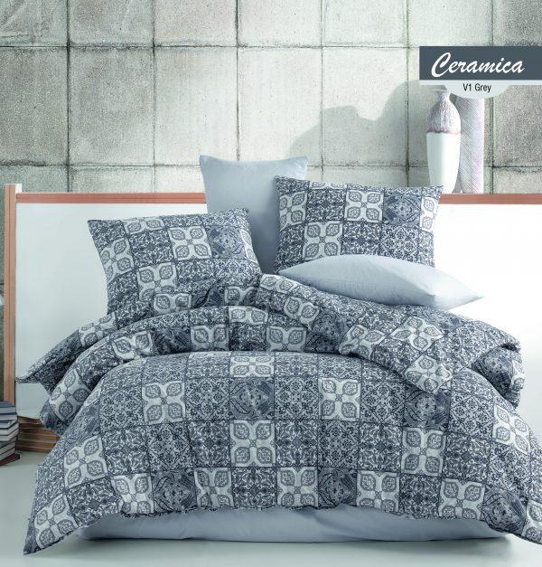 купить Постельное белье Zugo Home ранфорс Ceramica V1 Серый фото
