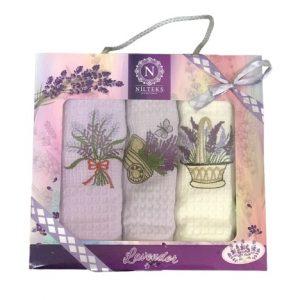 купить Набор кухонных полотенец Nilteks Lux Lavender V02 3 шт  фото