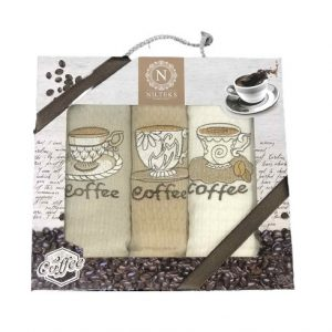 купить Набор кухонных полотенец Nilteks Lux Coffee V03 3 шт  фото