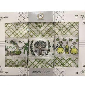 купить Набор кухонных полотенец Nilteks Olive Tree Natural 3 шт  фото