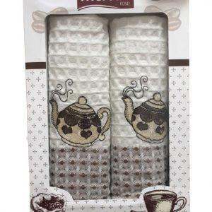 купить Набор кухонных полотенец Mercan вафельных Teapots V1 2 шт  фото