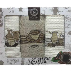 купить Набор кухонных полотенец Nilteks Lux Coffee V01 3 шт