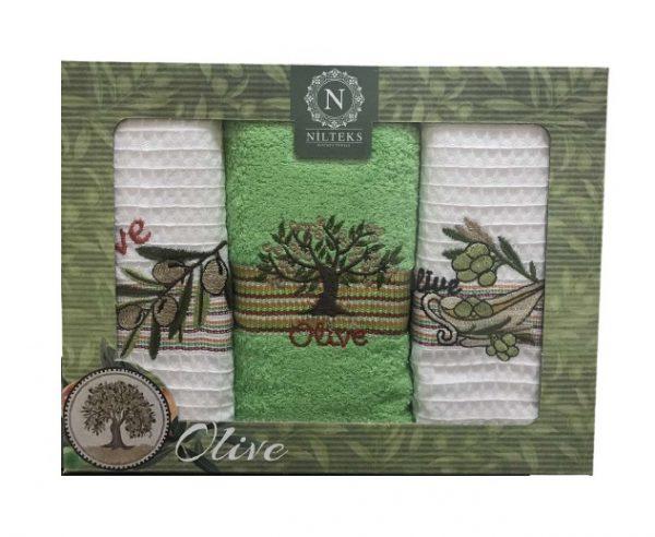 купить Набор кухонных полотенец Nilteks Lux Olive V01 3 шт  фото