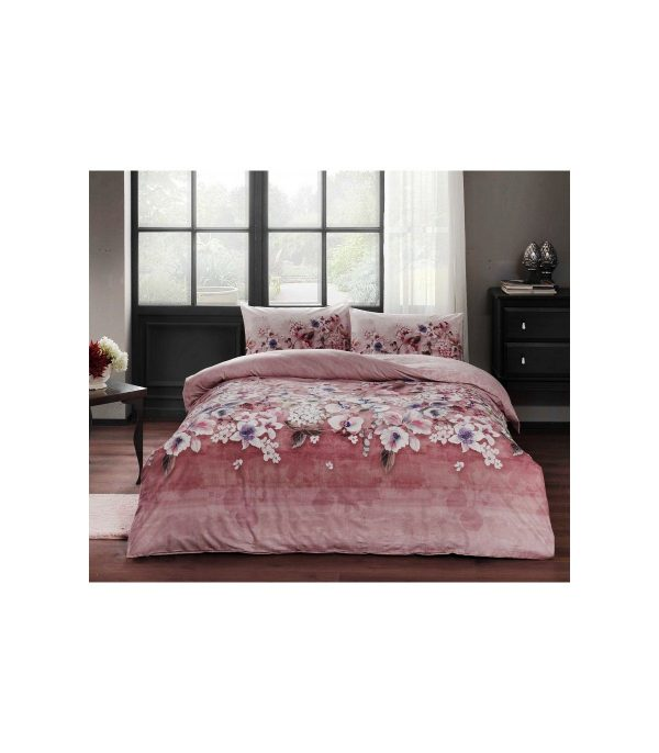 купить Постельное белье TAC ранфорс Liza V04 gul kurusu Розовый фото