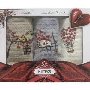 купить Набор кухонных полотенец Nilteks вафельные Love Series Towel Set V02 3 шт  фото