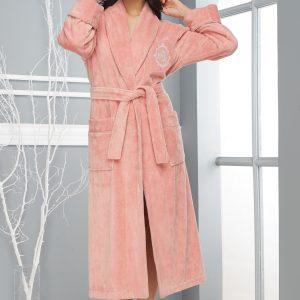 купить Женский халат Nusa длинный без капюшона 4030 K Pudra
