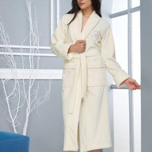 купить Женский халат Nusa длинный без капюшона 4030 Krem Крем