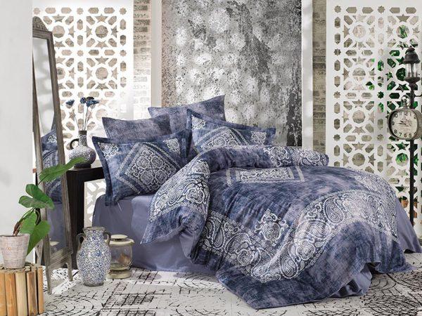 купить Постельное белье Сатин Принт Премиум - Dantela Vita Grace Blue Синий фото