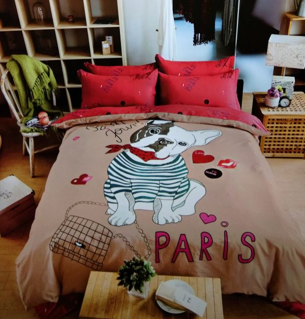 купить Постельное белье Сатин Люкс 40S 1610 Красный|Кофейный фото