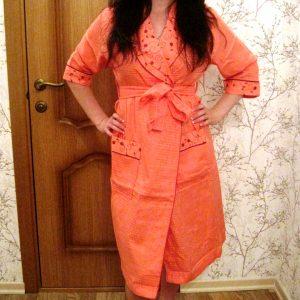купить Женский вафельный халат Nusa длинный без капюшона 8200
