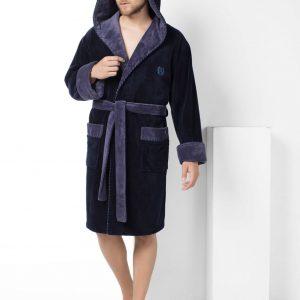купить Мужской халат Nusa короткий с капюшоном 7160-1 Lacivert