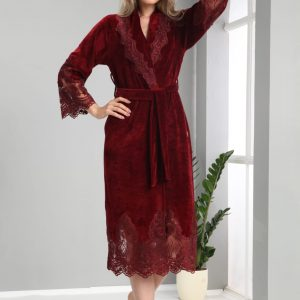 купить Женский халат Nusa тонкий велюр без капюшона 0383 Bordo