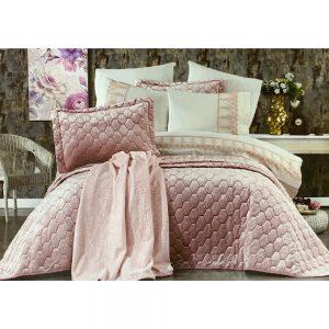 купить Покрывало с постельным бельем и пледом 10 предметов ORKIDE PUDRA Розовый фото