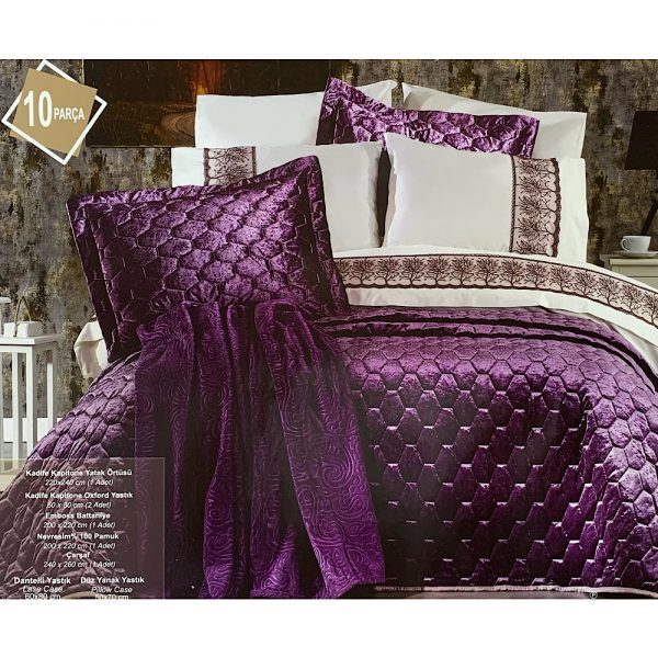 купить Покрывало с постельным бельем и пледом 10 предметов ORKIDE LILAC Сиреневый фото