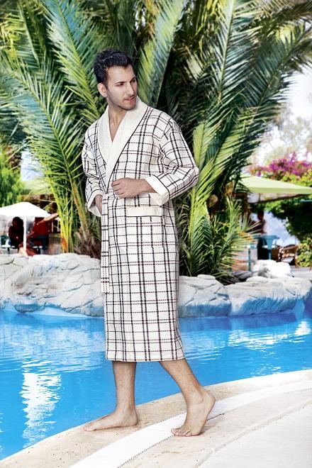 купить Мужской халат Nusa длинный без капюшона 10020 Крем