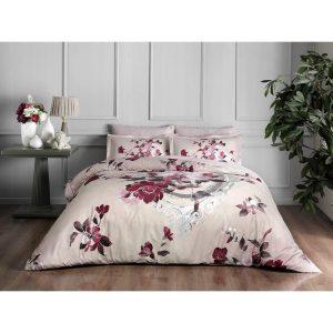 купить Постельное белье TAC Сатин Delux - Vella Bordo V03 Розовый фото