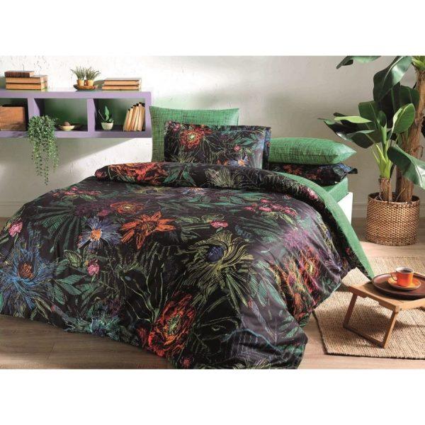 купить Постельное белье TAC Сатин Digital - Mora Siyah V01 Черный|Зеленый фото