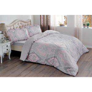 купить Постельное белье TAC Сатин - Vales Pembe V03 Розовый Серый фото